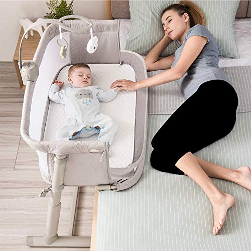 Kidsclub Baby Bedside Sleeper with 2 Replaceable Sheets, Baby Bedside Bassinet for New Born, Standalone Bassinet Side-Sleeper for Infants, Baby Nursery Bed 9 Height Adjustable for Bed Sofa