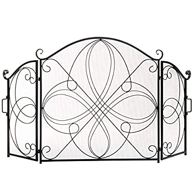 Best Choice Products 3-Panel 55x33in Solid Wrought Iron See-Through Metal Fireplace Screen, Spark Guard Safety Protector w/Decorative Scroll - Black by Best Choice Products