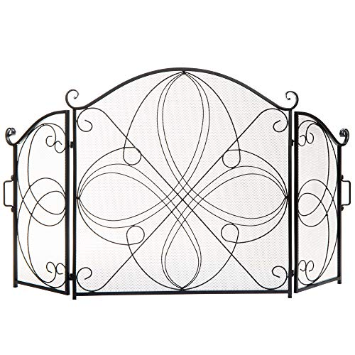 Best Choice Products 3-Panel 55x33in Solid Wrought Iron See-Through Metal Fireplace Screen, Spark Guard Safety Protector w/Decorative Scroll - Black