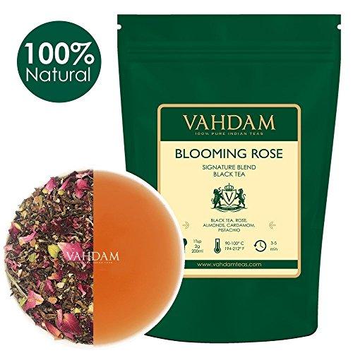 VAHDAM, Blooming Rose Tee (100 Tassen) | 100% natürliche schwarze Teeblätter, Rosenblüten, Mandeln, Kardamom, Pistazien | DELICIOUS & AROMATIC Schwarzer Tee Loose Leaf | 200gm