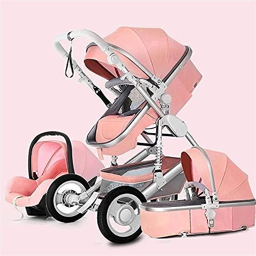 Cochecito de bebé con alta cesta de almacenamiento y soporte de taza, cubierta de pie, carro plegable 3 en 1 cochecito de cochecito, camioneta de cochecito de alta vista para bebés y niños pequeños