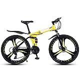 KXDLR 26 Pouces Vélos De Montagne Vélos 27 Vitesses Élevées en Acier Au Carbone Pliant Double Cadre De Frein À Disque,Jaune