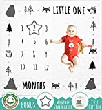 SWOOFE Monthly Milestone Blanket for Baby Boy & Girl | Organic Muslin Cotton | Woodland Nursery Decor Bear Fox Owl Photo Swaddle Blanket with Month Star Marker | Unisex Baby Gifts