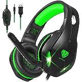 Auriculares para videojuegos con micrófono, auriculares profesionales de bajo ruido aislamiento sobre la oreja, con una tecla de silencio, luz LED para PC PS5, PS4, Xbox One (Negro-Verde)