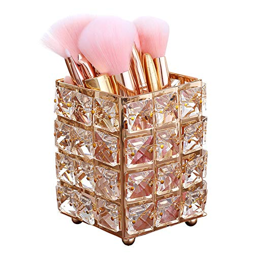 Smi&Love Makeup Brush Holder Crystal Makeup Brush Organizer Storage Bucket Eyebrow Pencil Pen Cup Tools Container (Golden Square)