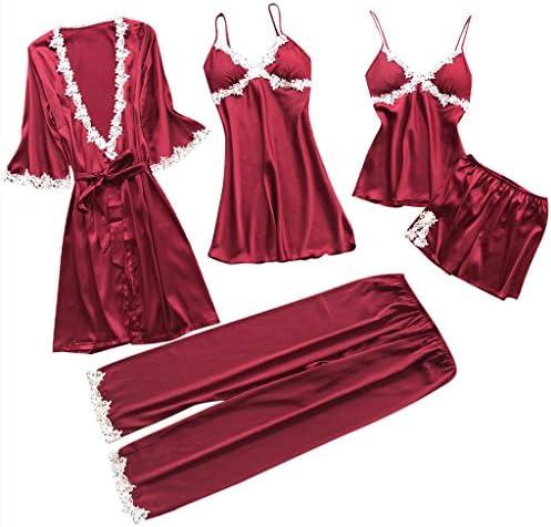 Proumy Conjunto de Pijamas Mujer Baratas 5 Piezas Kimono Larga Pijama de Encaje Verano Batas con Calzoncillos Cortos Ropa de Dormir con Pantalones ...