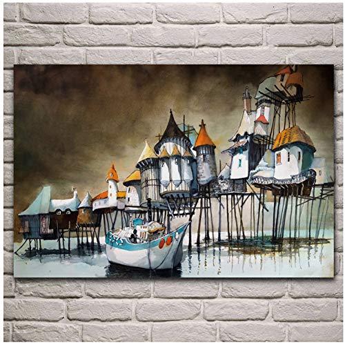 huizen boot zee kust kust fantasie kunstwerk poster woonkamer huis muur decoratieve canvas art prints cadeaus voor ouders en vrienden-50x70cm geen frame