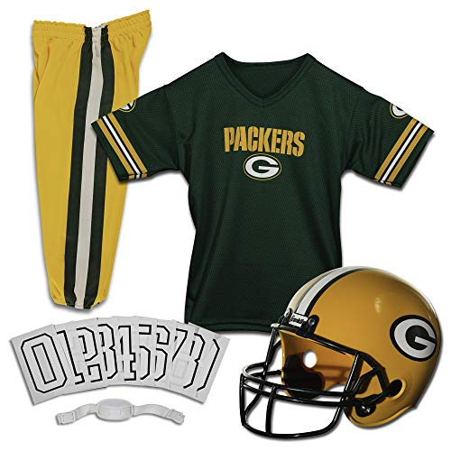 Franklin Sports Green Bay Packers Kids Football Uniform Set - NFL Youth Football Costume for Boys & Girls - Set Includes Helmet, Jersey & Pants - Medium