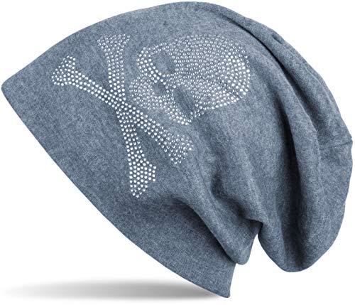 styleBREAKER Bonnet Classique avec Application en Strass en Forme de tête de Mort, Unisexe 04024034, Couleur:Bleu-Gris chiné, matériel:Chaud
