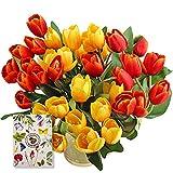 SNAILGARDEN - Tulipani finti 35 cm, con 2 tulipani artificiali, per matrimoni, casa, feste, festival, decorazioni floreali, colore: rosso/giallo