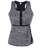 FeelinGirl Neoprene Sauna Suit - Sauna Tank Top Vest with Adjustable Shaper Trainer Belt 3X-Large Gray