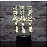 ZAWAGU Veilleuse Décorative Lumières Cadeaux Néon Chevet 7 Couleurs 3D Led Art Lampe de Bureau Avec Veilleuses Pour Ballet Waltz Dance Ballet Dance Lampe de Bureau Halloween Illusion Pour Enfants