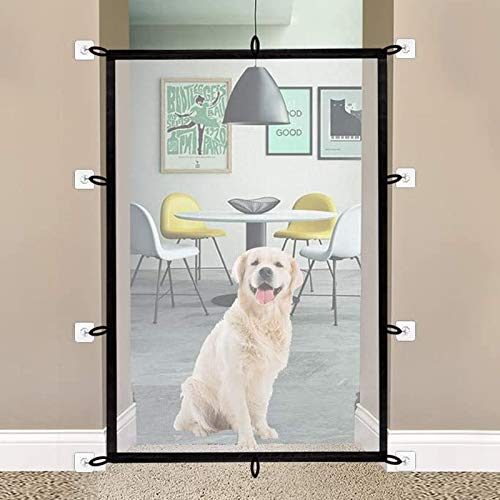 futureyun Portable Safety Gate, Magic Gate For Dogs, Folding Mesh Stair Gate Fits Most Interior And Exterior Doors Safe Guard for Dogs Cats Babies (150cm X 110cm)