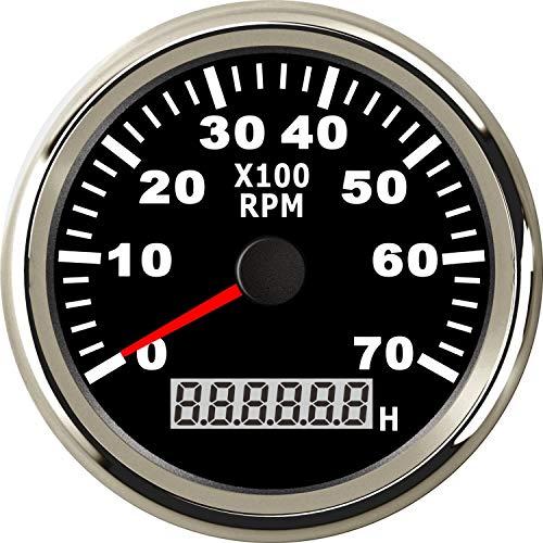 ELING Universal Tachometer RPM Gauge with Hour Meter 7000RPM 3 3/8' 12V 24V with Backlight