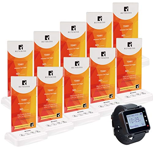 Retekess T128 Wireless Caregiver Pager,Restaurant Pager System,Display Service Type,1 Watch Receiver,10 4-Key Table Card Call Button for Club,Cafe,Bar