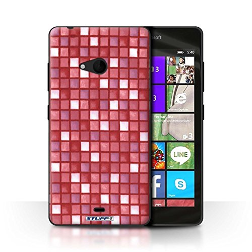 STUFF4 telefoonhoesje/hoes voor Microsoft Lumia 540 (zwart/wit) / rood ontwerp/bad tegel patroon collectie