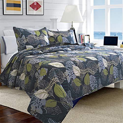 ADGAI Tagesdecke aus 100prozent Baumwolle, 3-teilige Wendedecke, Tagesdecke aus nordischem Pikee-Muster aus weichem Green Leaf-Bett 135/160, Doppelbett 235x270 cm,235cmx270cm
