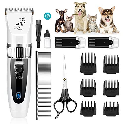 GHB Tosatrice per Cani,Tosatrice Professionale per Cani Gatti,2 Batterie Ricaricabili,Silenzioso, Adatto a Cani e Gatti a Pelo Lungo,13 Accessori