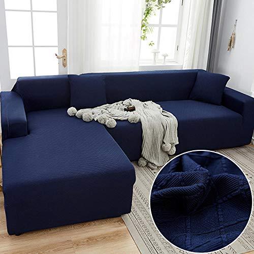 Fundas Sofas 3 y 2 Plazas Ajustables Azul Marino Fundas para Sofa Spandex Cubre Sofa Estampadas Fundas Sofa Elasticas Universal Espesas Verano Modernas Fundas para Sofa Chaise Longue