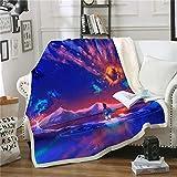 CQIIKJ Manta Estampada Azul Naranja Aurora Snow montaña Lago Terciopelo de Cristal Lateral A, Terciopelo de Lana Blanca Lado B 150 x 200 cm para Sala de Estar, hogar,