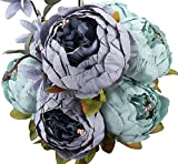 Ramo de peonías artificiales Amkun. Flores de seda para decoración del hogar o bodas, 1 unidad