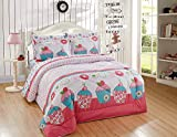 Luxury Home Collection Kids/Teens/Girls 7 Piece Full Size Comforter/Bed in A Bag Bedding Set with Sheets Polka Dot Floral Cupcakes Pink White Turquoise Green
