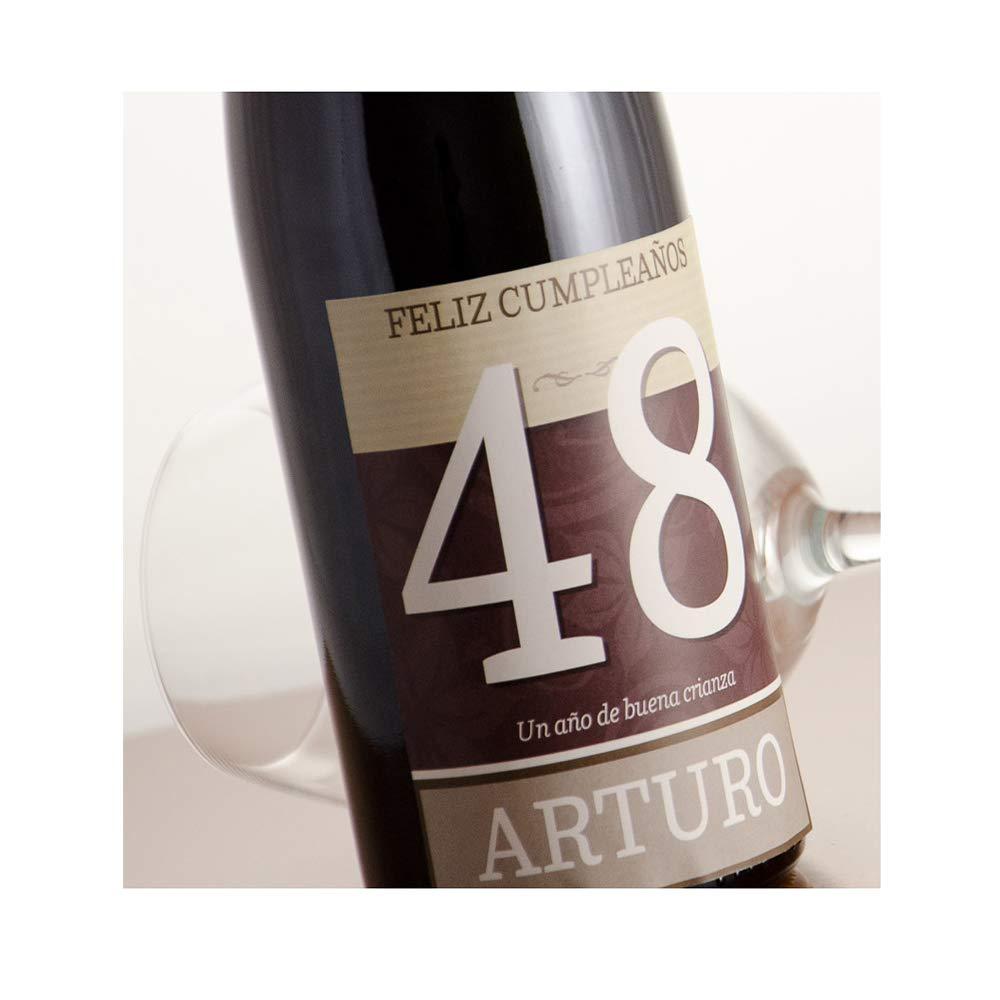 Regalo Personalizable para cumpleaños: Botella de Vino Feliz cumpleaños Personalizada con su Nombre y Edad: Amazon.es: Hogar