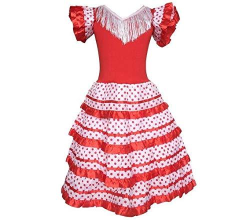 La Senorita Robe Espagnol Flamenco / Costume - pour Filles / Enfants - Rouge / Blanc - Taille 128-134 - Longeur 85 cm