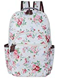 Leaper wasserdichte Leinwand + PVC Schicht Schule Rucksack hübsch floral Laptop Tasche lässig Daypack (Weiss)