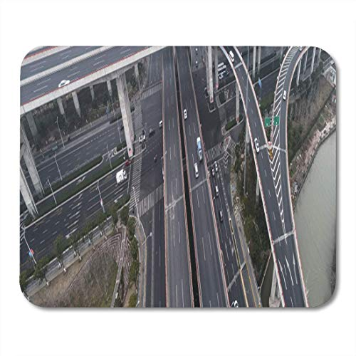 Mauspads Drohne Luftbild der Autobahn und der Überführung im City Mouse Pad für Notebooks, Desktop-Computer-Matten Büromaterial