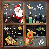 YILEEY Decoration Noel Stickers Fenetre, 160 Morceaux de Flocon de Neige, Père Noël et Rudolph Deco Noel Intérieure...