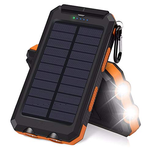 ZYRZYR Solar Charger 20000mAh Portable Phone Charger External Backup Battery Pack IP65 Water Resistant 2 USB Ports Solar Power Bank with 2 LED Flashlight, Carabineer and Compass,Orange
