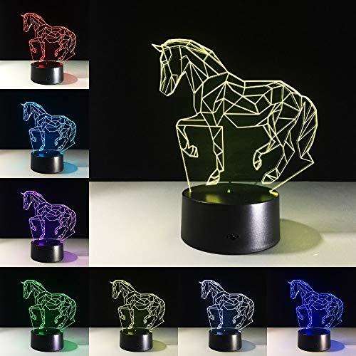 Running Horse Acrílico Stereo Vision Horse Interior 3D LED Luz de noche Lámpara de mesa Mesita de noche Decoración Regalo para niños