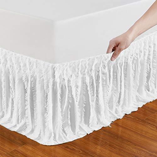QSY Bettrock, elastisch, mit Rüschen, drei Stoffseiten, leicht anzubringen/leicht zu entfernen, verstellbar, Polyester, Baumwolle, 35,6 cm lang Queen/King weiß