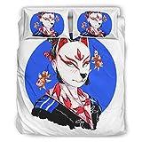 Wandlovers Juego de ropa de cama de 4 piezas, Anime japonés, Geisha, Kitsune, para todo el año, funda de edredón, sábana plana y funda de almohada, colección para el hogar, color blanco, 203 x 230 cm