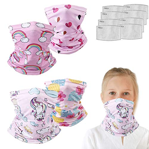 Kids balaclava Neck Gaiter With Filters For Girl Boy, Bandana Infinity Scarf, Safety Face Cover Headwear Protection, Toddler Headgear, Camouflage Dinosaur Unicorn Heart Gifts For Girls