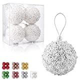 4.25' Christmas Ball Ornaments 4pc Set White Shatterproof Christmas Decorations Tree Balls forXmas Trees Wedding Party Holiday Decorations Tabletop Small Trees Decoration (White)
