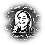 Photo Memorial Decal for Cars and Trucks | Personalized Unique in Loving Memory Sticker for Your Car or Truck Window (White)