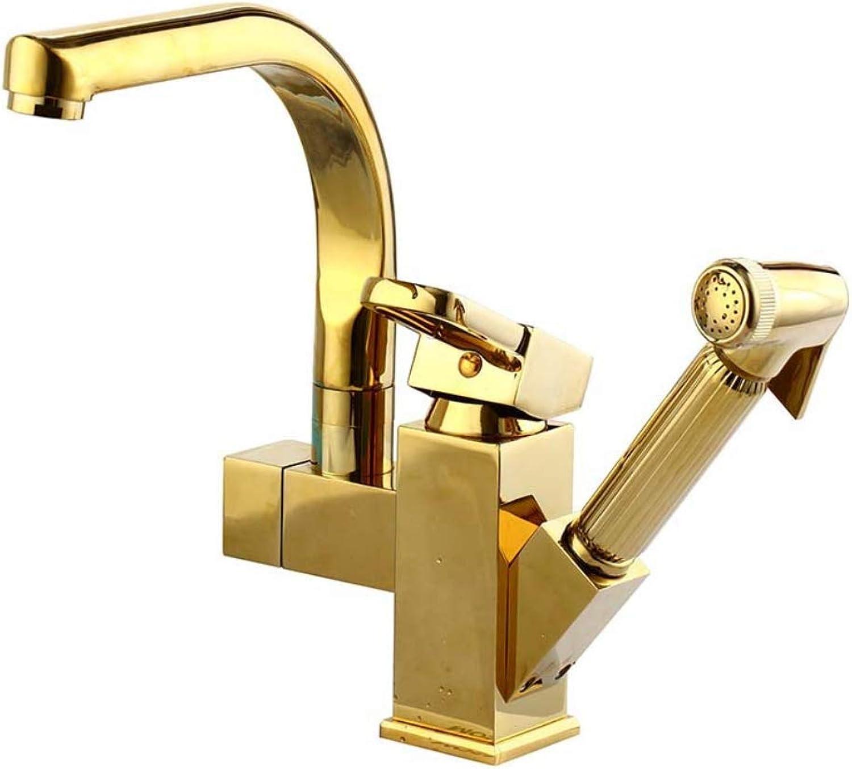 GWX Becken Wasserhahn, Waschbecken Wasserhahn Multi-Funktions-Warm-und Kaltwasser Mischer Wasserhahn Goldene Moderne minimalistische Stil Kupfer Material Casting