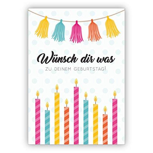 Coole verjaardagskaart, ook als cadeaubon met bonte kaarsen: wens je wat voor je verjaardag is. • Mooie wenskaarten met enveloppen voor beste vrienden en lievelingsmensen. 1 Grußkarte
