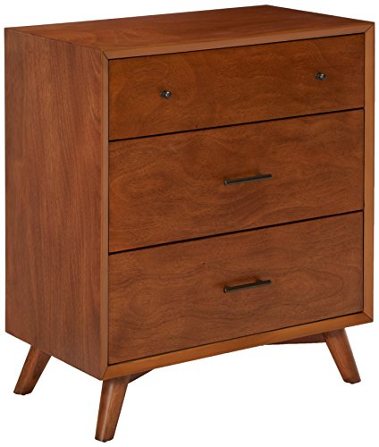 Alpine Furniture Flynn Mid Century Modern Small Chest, 35 W x 21 D x 39 H, Acorn