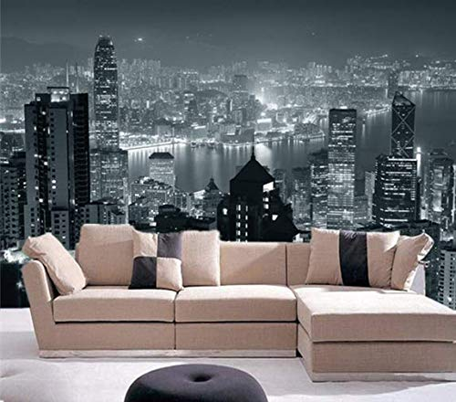 Fototapete Tapete Wanddeko Home Decor 3D Hong Kong City Skyline Bei Nacht Selbstklebende Backgroud Tapete Wandbild, 35mx24m