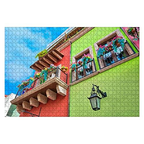1000 Piezas Monterrey Coloridos Edificios históricos en el Centro de la Ciudad Vieja Rompecabezas de Gran Pieza para Adultos Juguete Educativo para niños Juegos creativos Entretenimiento Rompe