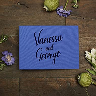 Wedding Polaroid Guestbook Royal Blue with Black or White Velour Lettering Pocket Sign in Book- by Liumy