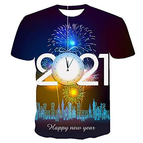 PPangUDing T-Shirt Sommer Kurzarm Rundhals Baumwolle 2021 Happy New Year 3D Digitaldruck Xmas Pullover Oberteile Bluse Tops Sweatshirts für Herren Damen