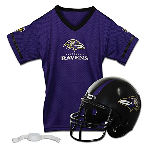 Franklin Sports NFL Baltimore Ravens Kids Football Helmet and Jersey Set - Youth Football Uniform Costume - Helmet, Jersey, Chinstrap - Youth M