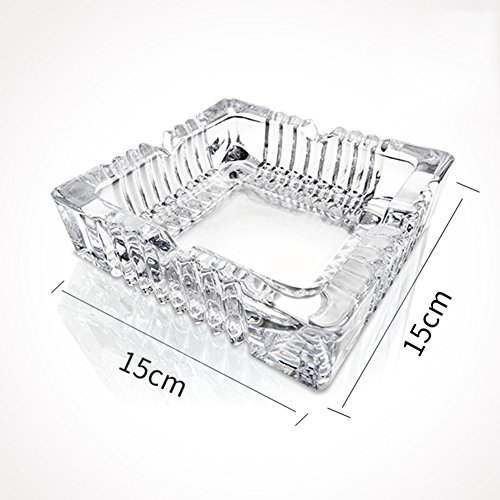 Cenicero de Cristal, Cenicero Europeo Grande Bar Mesa Sala de Estar Oficina Decoración Don-M L15xH5cm(6x2inch)