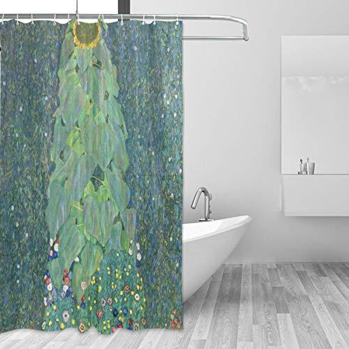 Ahomy Duschvorhang Gustav Klimt Bauernhof Garten Sonnenblumen Wasserdicht Polyester Stoff 180 x 180 cm Duschvorhang mit 12 Haken