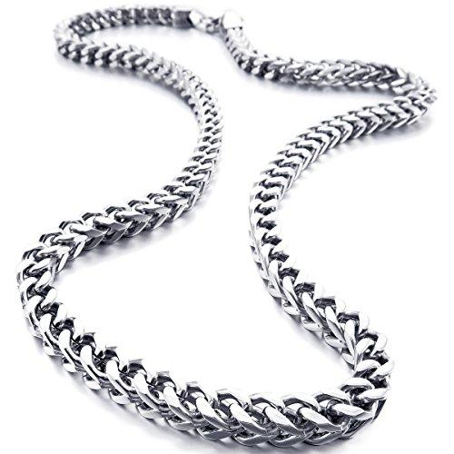 MunkiMix 6MM Breit Rostfreier Stahl Wasserdicht Kette Halskette zum Männer Frauen Jungs Mädchen Kubanische Gliederkette Halsketten Dick Metall Fuchsschwanz Ketten (Silber Farben, 550MM Lange)