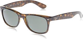 unisex adult Rb2132 New Wayfarer Polarized Sunglasses, Tortoise/Polarized Green, 58 mm US